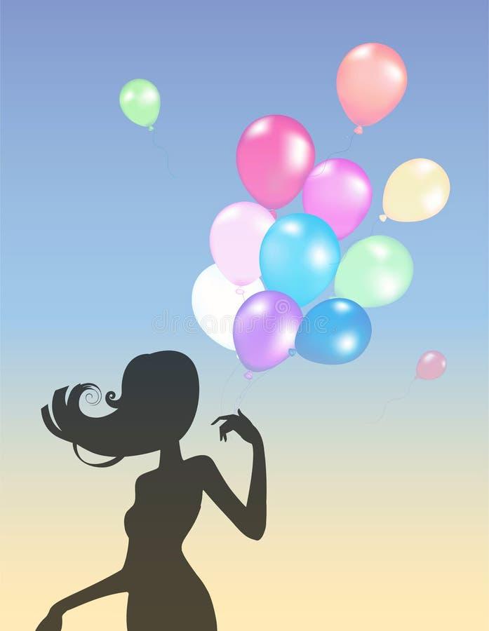 Mädchenschattenbild mit Ballonen lizenzfreie abbildung