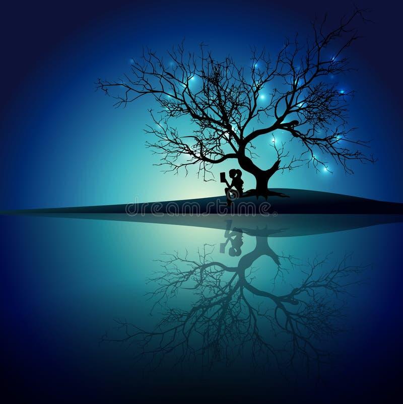 Mädchenschattenbildlesung unter einem Baum in der Einsamkeitswasser-Spiegelreflexion vektor abbildung