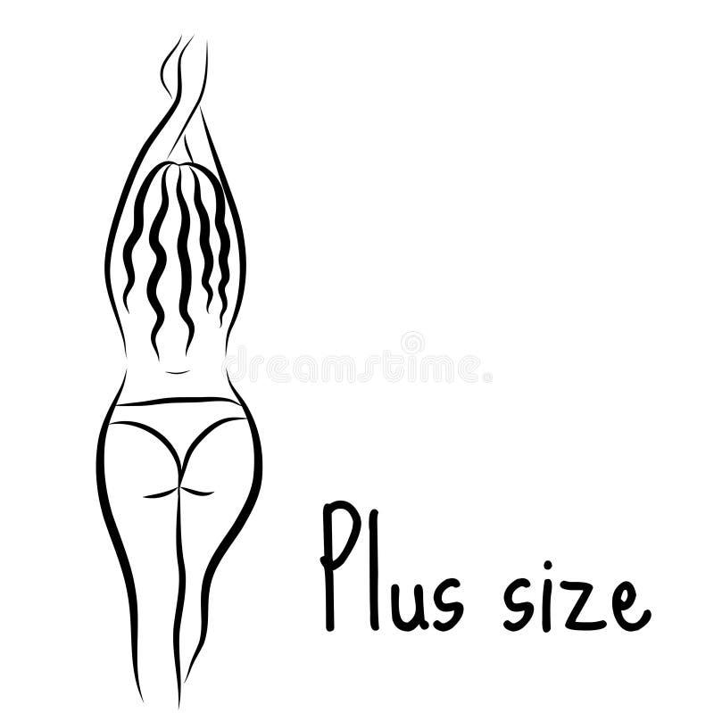 Mädchenschattenbildskizze plus Größenmodell Curvy Frauensymbol Auch im corel abgehobenen Betrag vektor abbildung