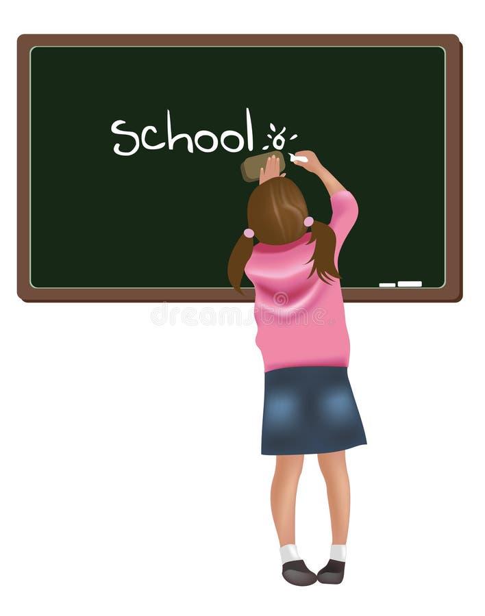 Mädchenschreiben auf Tafel lizenzfreie abbildung