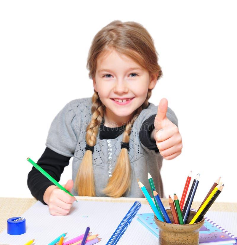 Mädchenschule greift oben ab stockfoto