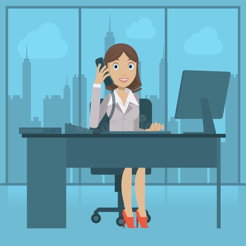 Mädchensekretär spricht telefonisch lizenzfreie abbildung