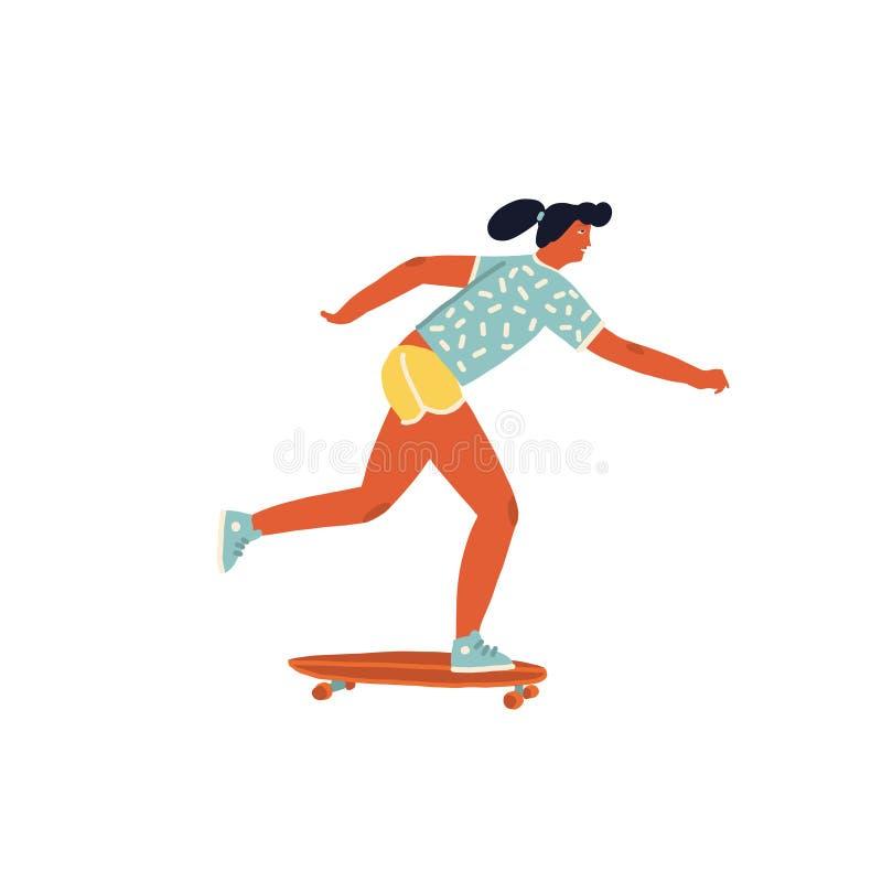 Mädchenskateboardfahrerfahrt ein Skateboardplakat mit inspirierend Textzitat im Vektor lizenzfreie abbildung