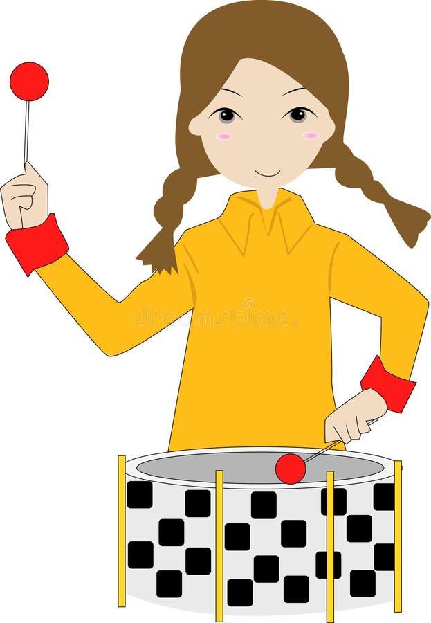 Mädchenspiel die Trommel vektor abbildung