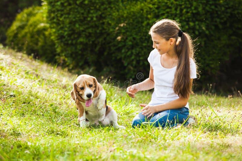 Mädchenspiele mit einem Hund lizenzfreies stockfoto