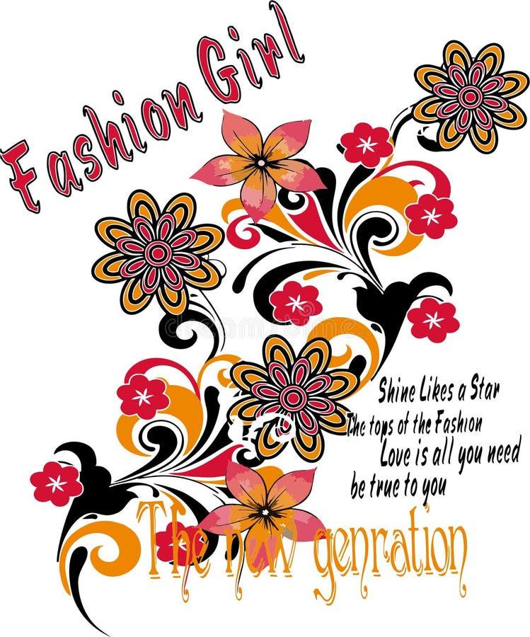 Mädchent-shirt Designe, abstrakter Hintergrund lizenzfreie abbildung