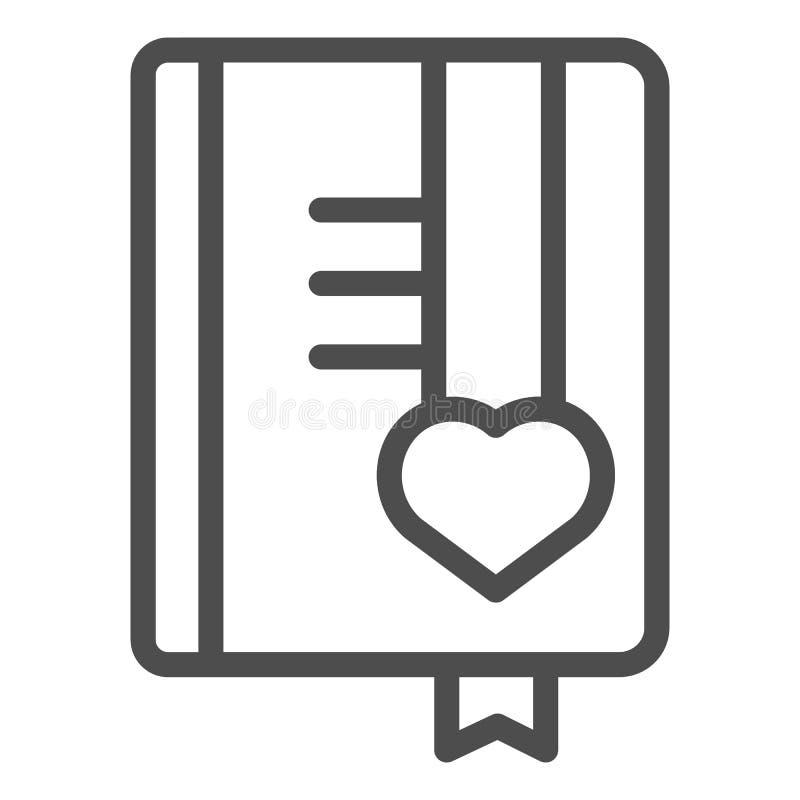 Mädchentagebuchlinie Ikone Buchvektorillustration lokalisiert auf Wei? Notizblockentwurfs-Artentwurf, bestimmt f?r Netz und stock abbildung