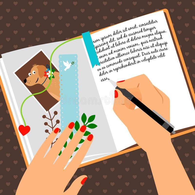 Mädchentagebuchscheduler mit Bookmark lizenzfreie abbildung