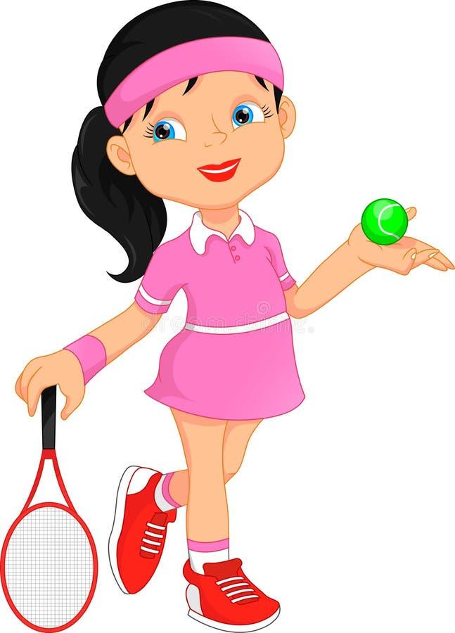 Mädchentennisspielerkarikatur lizenzfreie abbildung
