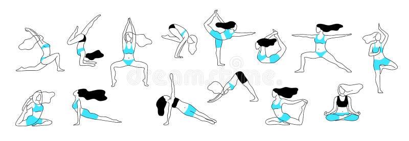 Mädchenyogahaltungen Aerobe Ausdehnungseignungsübung, des weiblichen Körpers Vektorlinie Lage der Flexibilität des Trainings gesu stockbilder