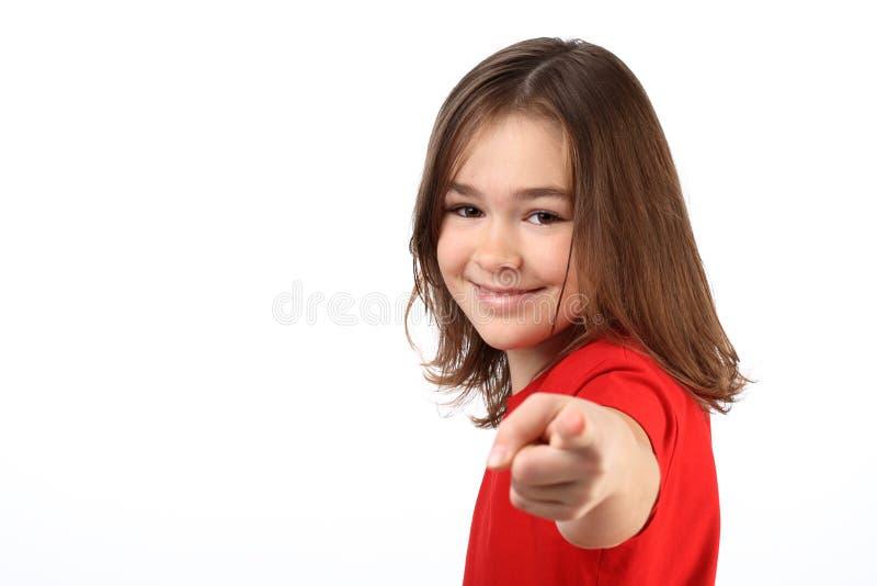 Mädchenzeigen lizenzfreie stockfotografie