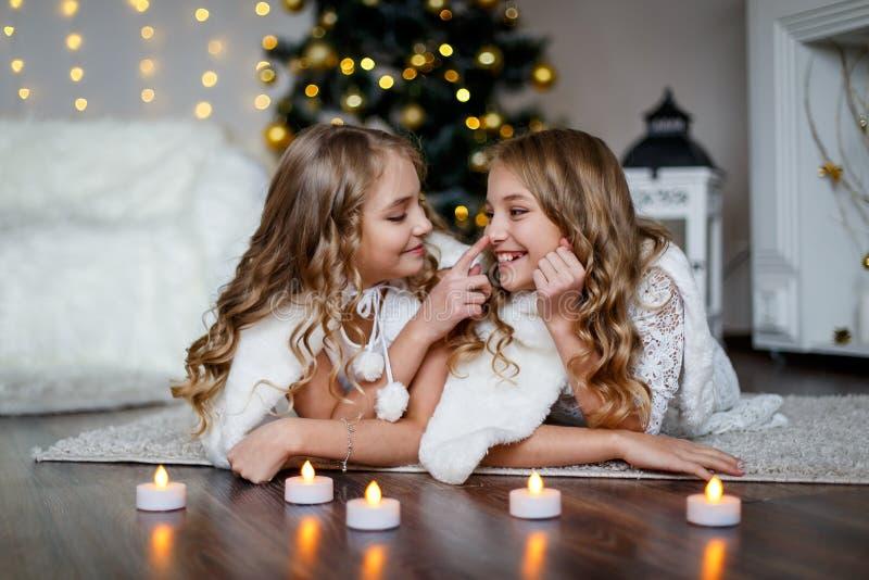 Mädchenzwillinge vor dem Pelzbaum lizenzfreie stockfotografie