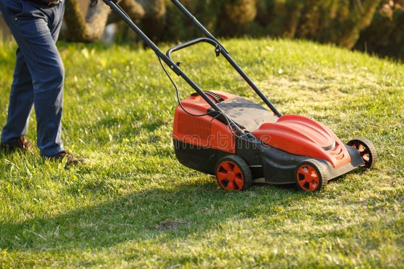 Mähender Trimmer - Arbeitskraft, die Gras im grünen Yard bei Sonnenuntergang schneidet Mann mit elektrischem Rasenmäher, Rasenmäh stockbilder