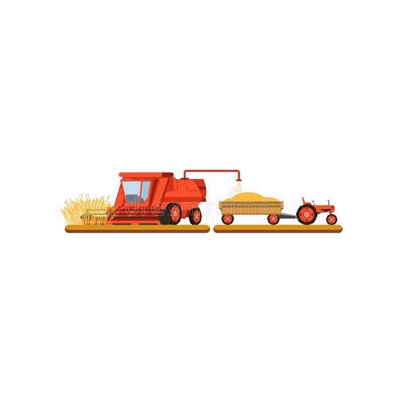 Mähender Weizen des Mähdreschers, Illustration Vektor der landwirtschaftlichen Maschinerie auf einem weißen Hintergrund stock abbildung
