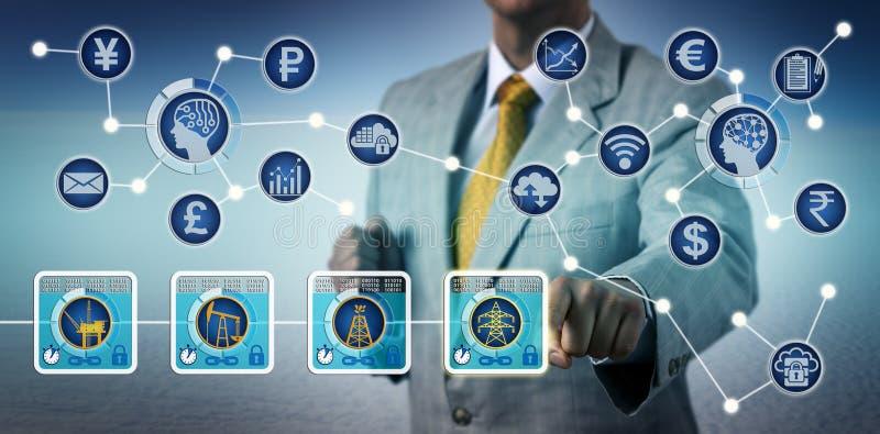Mäklare Trading Electricity Via Blockchain och IoT royaltyfria foton