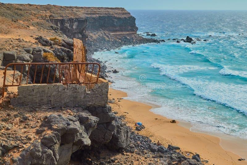 Mäktigt landskap av havet i Fuerteventura, Spanien royaltyfri bild
