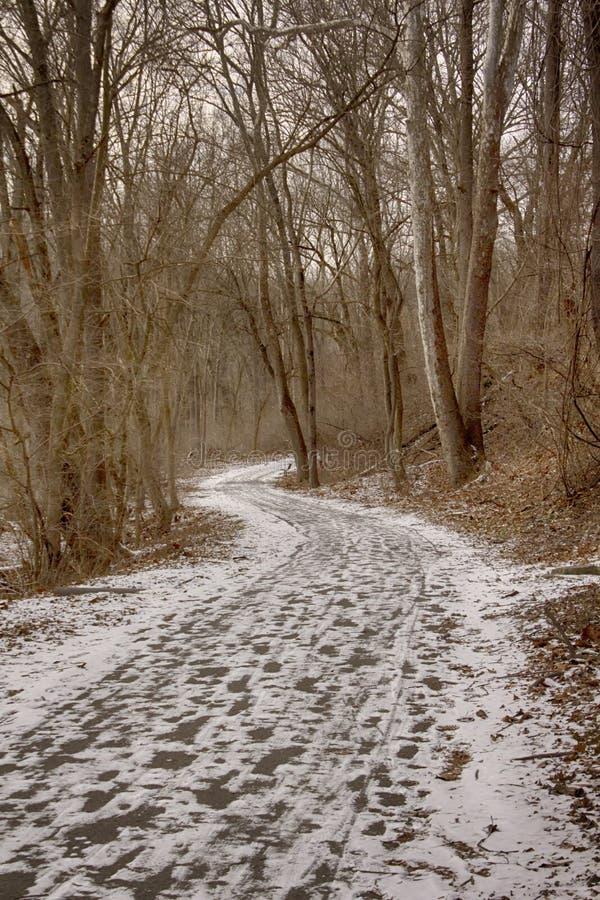 Mäld maler slingan med snö fotografering för bildbyråer