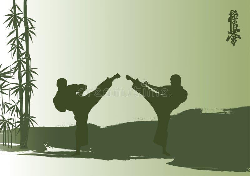 Män är förlovad karate royaltyfri illustrationer