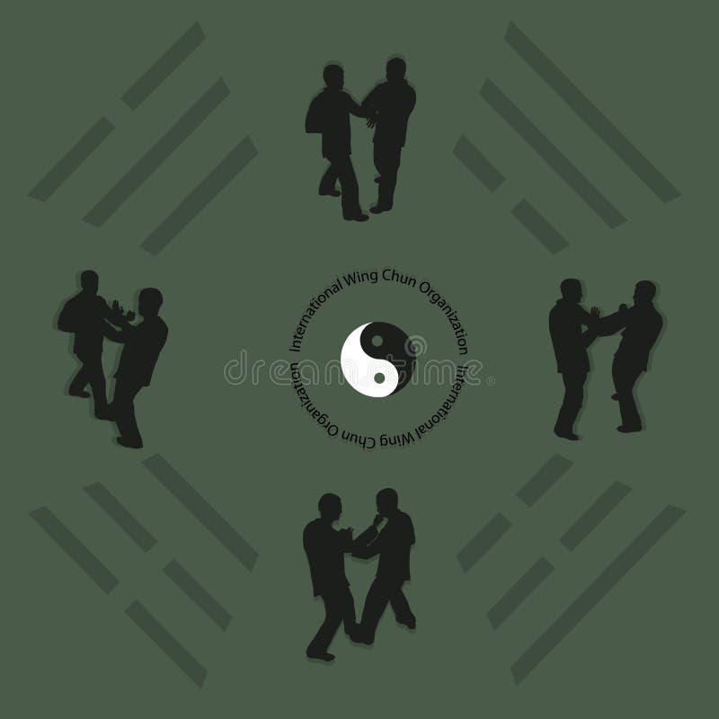 Män är förlovade i kung fu royaltyfri illustrationer
