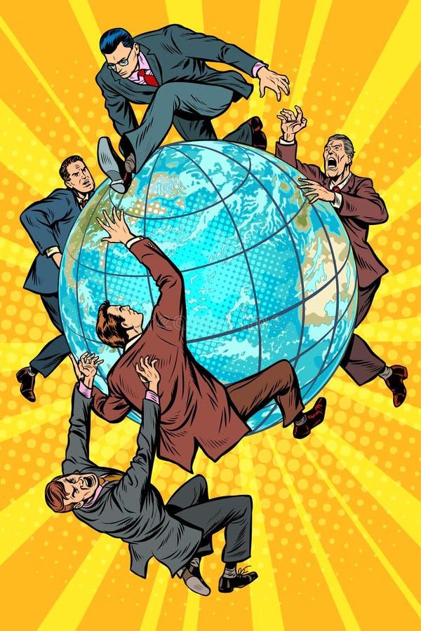 Män av politik slåss på planetjord stock illustrationer