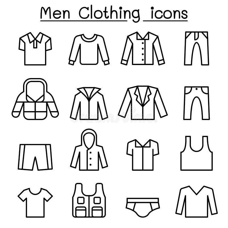 Män beklär symbolsuppsättningen i den tunna linjen stil vektor illustrationer