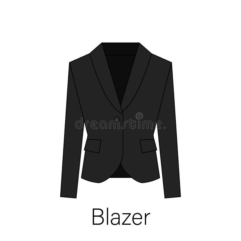 Män blazer eller symbol för vektor för omslags- eller dräktsymbol enkel plan i linjen design stock illustrationer