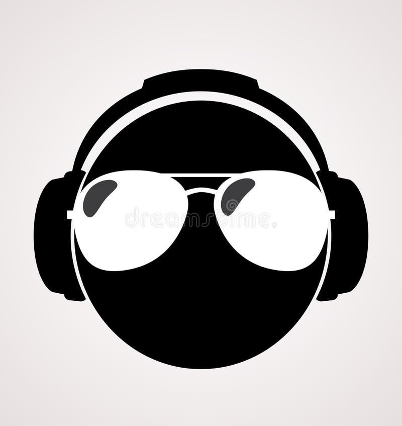 Män dj i headphone tryckillustration stock illustrationer