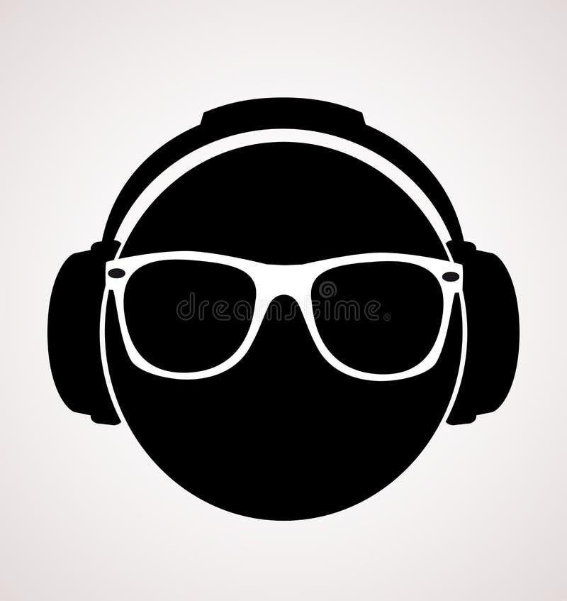 Män dj i headphone. vektortryckillustration royaltyfri illustrationer