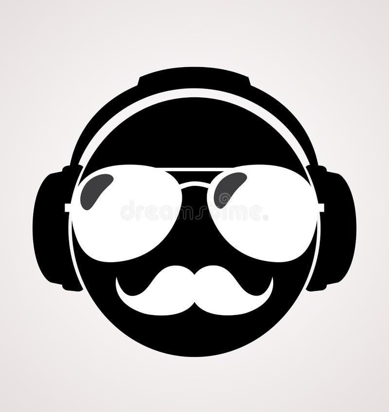 Män dj i headphone vektortryckillustration stock illustrationer