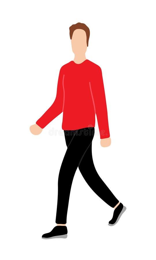 Män eller pojken klädde den röda sweatern i tillfälligt gå för stil och perf royaltyfri illustrationer