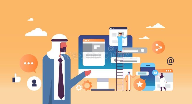 Män för begrepp för utveckling för applikation för arabiskt anförande för man som funktionsdugligt mobila klättrar den horisontal vektor illustrationer