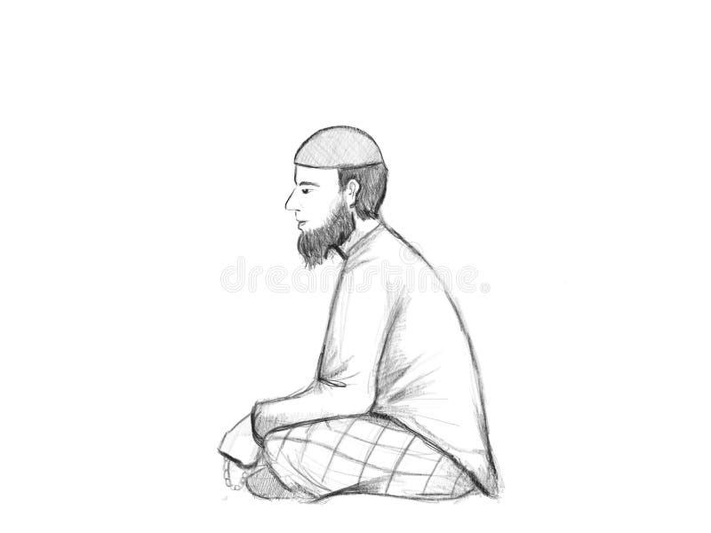 Män för en moslem med skägget sitter på golvet efter sholat och därefter dzikr royaltyfri illustrationer