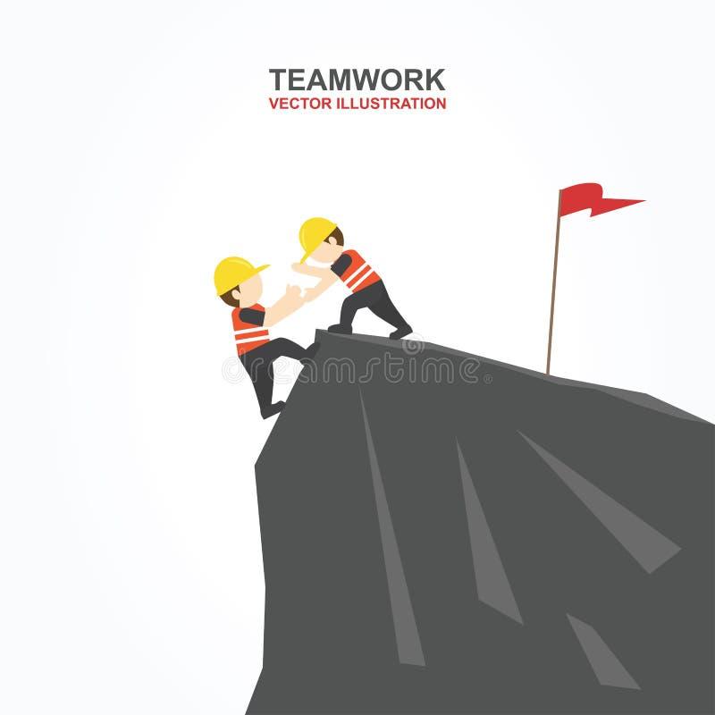 Män försöker att hjälpa deras vän att klättra klippan också vektor för coreldrawillustration stock illustrationer