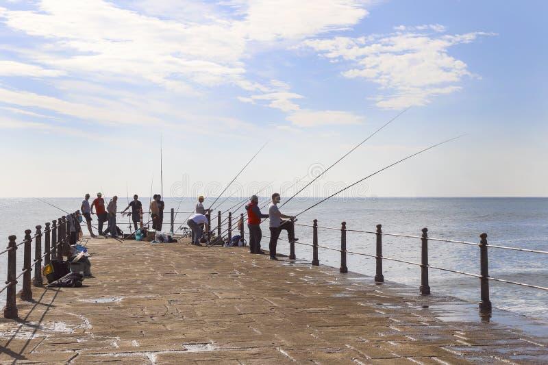 Män fiskar på pir royaltyfri bild