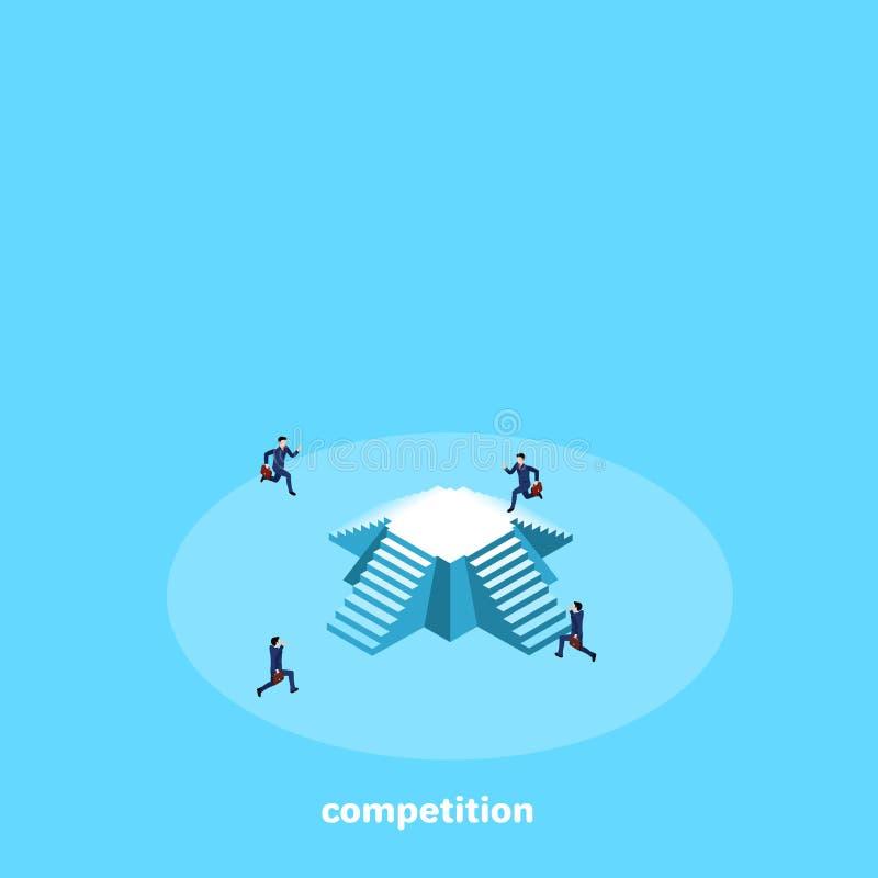 Män i affärsdräkter konkurrerar vem skallr den första körningen till pyramiden stock illustrationer