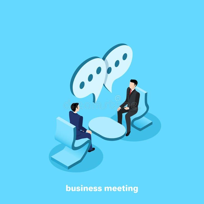 Män i affärsdräkter sitter mitt emot de och samtal vektor illustrationer