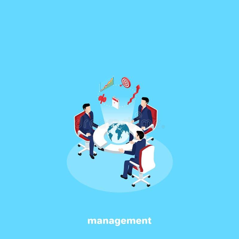 Män i affärsdräkter sitter på en rund tabell med ett jordklot i mitten royaltyfri illustrationer