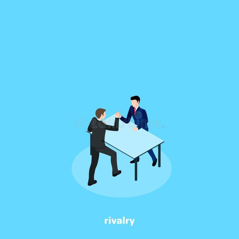 Män i affärsdräkter slåss på deras händer stock illustrationer