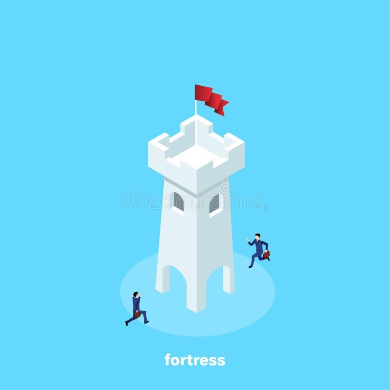 Män i affärsdräkter som körs till fästningen som flaggan lokaliseras på royaltyfri illustrationer