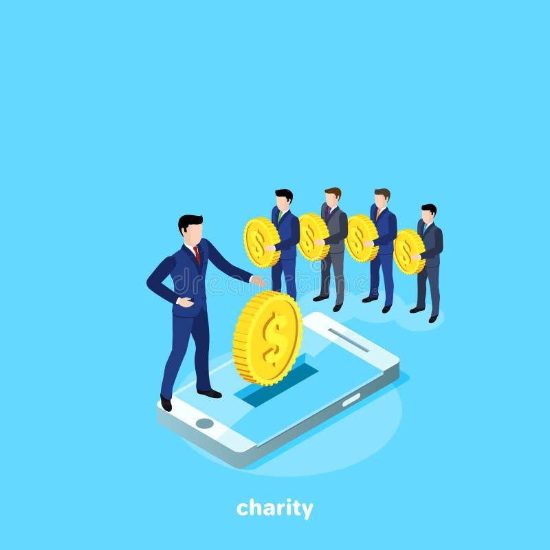 Män i affärsdräkter står i linje för att göra ett medmänskligt bidrag och en smartphone som ett hjälpmedel för att samla pengar stock illustrationer