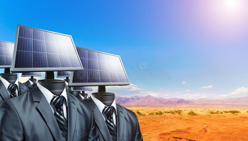 Män i dräkter med solpaneler i stället för ett huvud arkivfoton