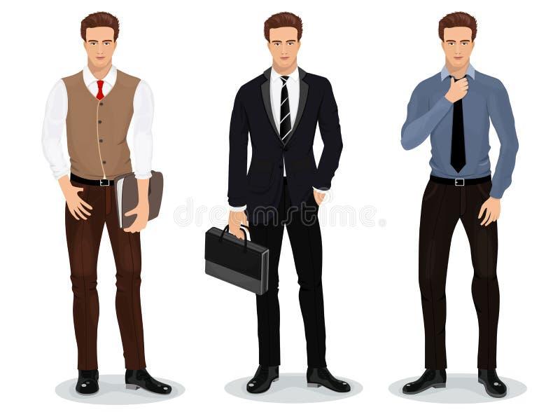 Män i stilfull kläder uppsättning av affärsmän Detaljerade manliga tecken vektor stock illustrationer