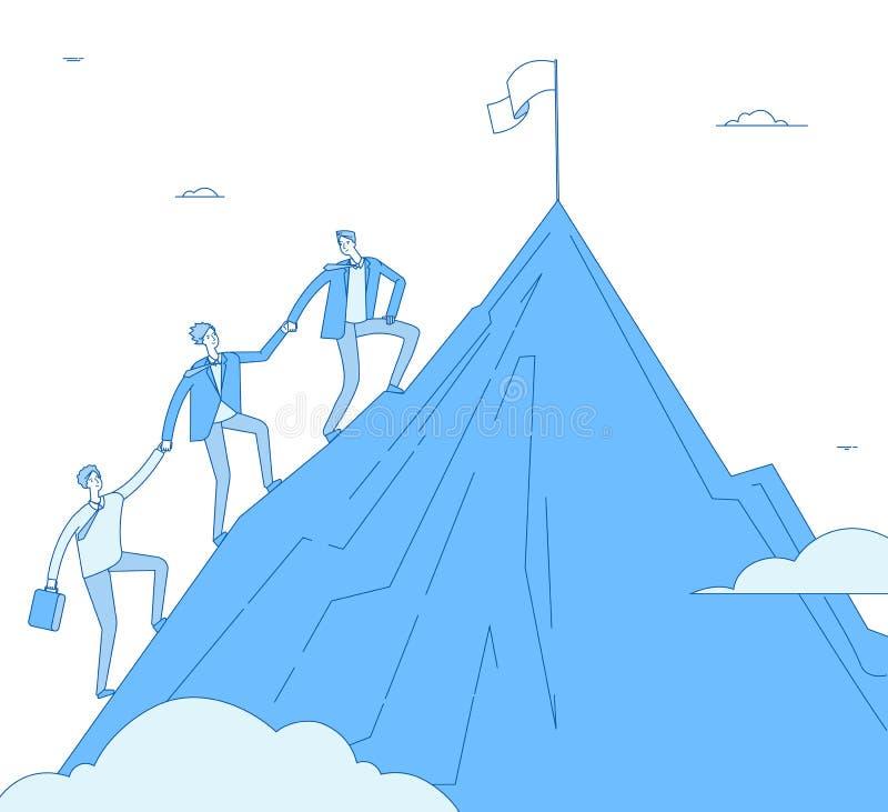 Män klättrar berget Framgångledaren med laget går upp bästa lyckad vinnare Affär som når, ledarskapprestation stock illustrationer