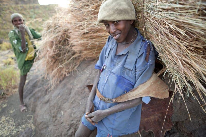 Män med höpackar, Etiopien royaltyfri bild