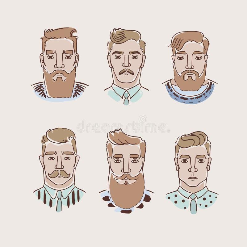Män med olika frisyrer, skägg och mustascher stock illustrationer