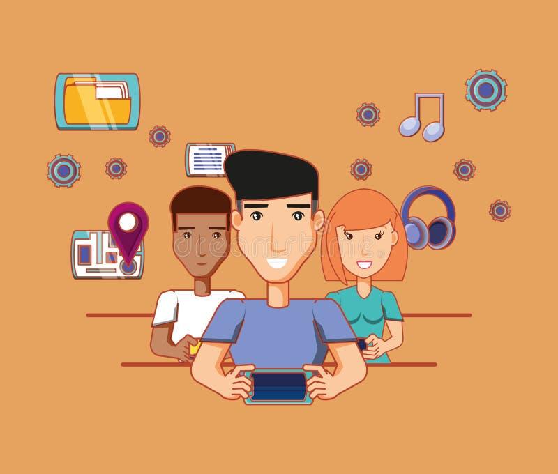 Män och kvinnan med smartphones knyter kontakt socialt massmedia royaltyfri illustrationer