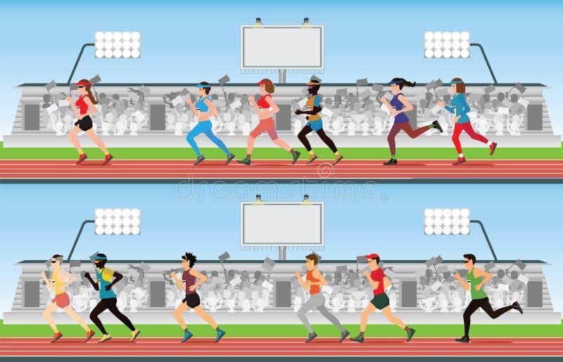 Män och kvinnor för maratonlöpare på rinnande loppspår med folkmassan I vektor illustrationer