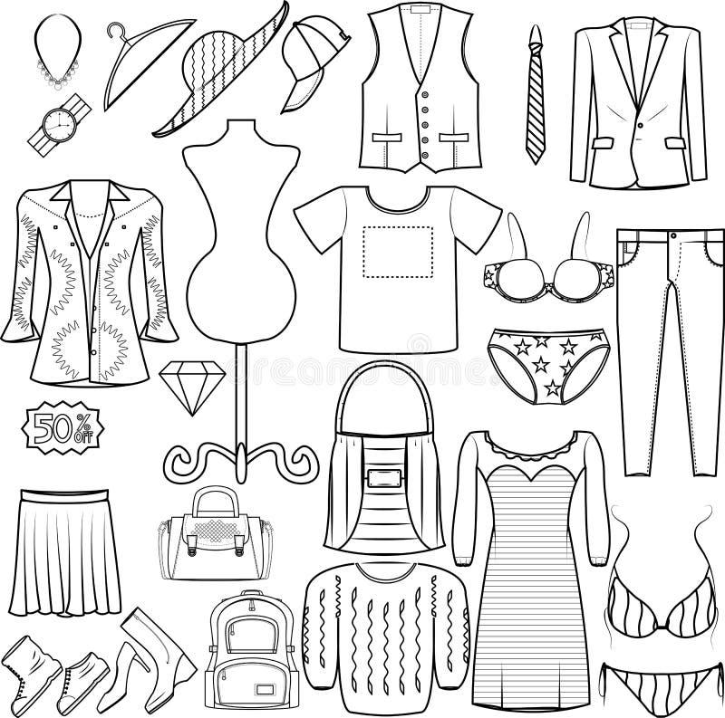 Män och kvinnor för symbolsmodeuppsättning som beklär dräktpåseunderkläderna, skor kategori för produkt för skjortahattlock royaltyfri bild