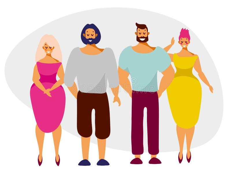 Män och kvinnor, gulliga tecken med leenden i tillväxt vektor illustrationer