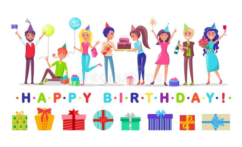 Män och kvinnor i festliga hattar, lycklig födelsedag stock illustrationer